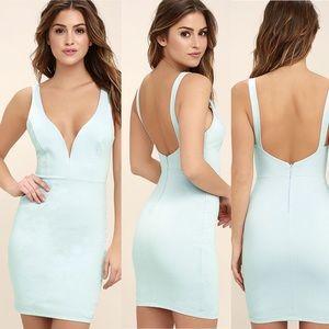 Lulu's Perfect Pick Bodycon Dress Aqua Blue